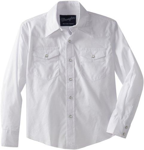 Wrangler Boys' Long Sleeve Dress Western Solid Snap Shirt - Small - White