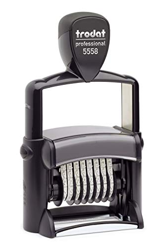 Trodat Professional Numberer, 8 Digit Self-Inking Numbering Stamp, 3/8 x 2 1/4 Inches (T5558),Black