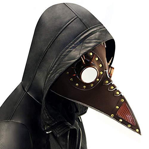 XBYUK Steampunk Pest Doktor Vogel Schnabel Maske mittelalterliche Beulenpest DR Halloween Kostüm Maskerade Masken Ledermaske für Männer und Frauen Erwachsene
