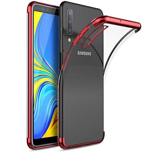 Conie ZE29366 Zero Edge Color Kompatibel mit Samsung Galaxy A7 2018, Design Hülle Handycover Rückschale Case Schutzhülle rutschfest Kantenschutz für Galaxy A7 2018 Bumper Chrome Rot