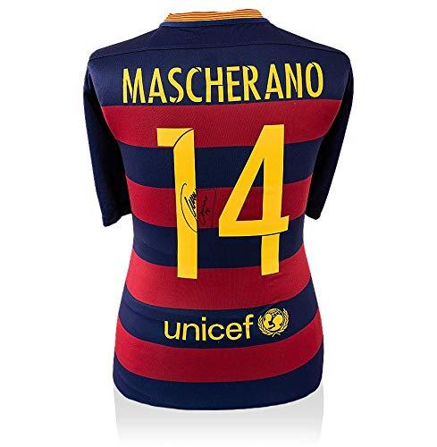 Icons.com Javier Mascherano Back Signed FC Barcelona 2015-16 Home Shirt