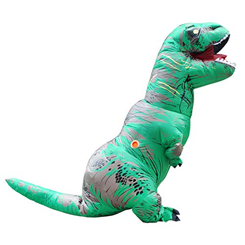 Qshine Adults T-Rex Inflatable Costume Fancy Dinosaur Suit Blow up Stegosaurus Jumpsuit Halloween Cosplay Costume (Free Size, Green)