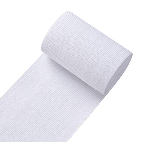 Knit Elastic Bands for Sewing White Heavy Stretch High Elasticity Flat Elastic Cord 4 Inch Wide Braided Elastic Spool 3 Yard