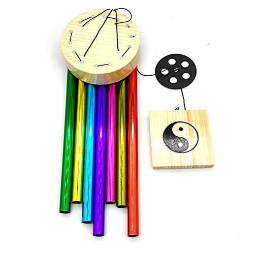 Plusvalue Metal Wind Chimes Home Positive Energy Color Pipes Windchimes Balcony Bedroom Good Sound (7 Rods Multicolor)
