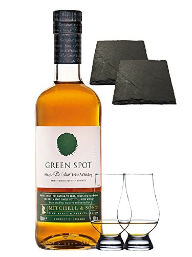 Green Spot Pure Pot Still Whiskey 0,7 Liter + 2 Glencairn Gläser + 2 Schiefer Glasuntersetzer 9,5 cm