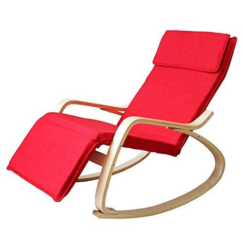 XHCP Jardín al Aire Libre Relax Mecedora Sillón de Interior Sillón de Respaldo Alto con cojín a Prueba de Agua Sling Chair Porches Backyards Asiento mecedor, 6 Colores (Color: Rojo, tamaño: 120x6