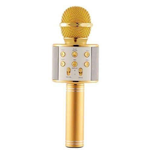 microphone WS-858 - Reproductor de karaoke inalámbrico con Bluetooth y Bluetooth, reproductor de KTV, Bluetooth, micrófono, graba música, color dorado