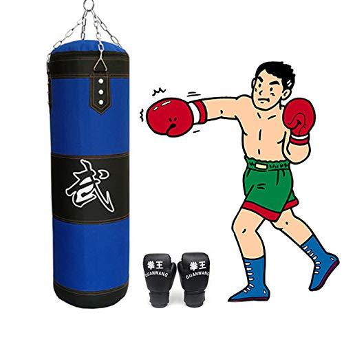 60 / 80cm / 100cm / 120cm zandzak Verdikte Canvas bokszak Trainen hook Kick Leeg Bokszakken met bokshandschoenen,60cm
