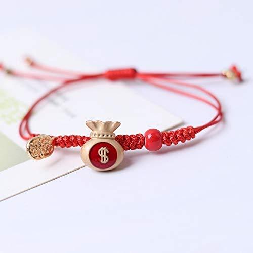 Cadena trenzada de cuerda roja del zodiaco con aleación de cerámica de vaca ajustable pulsera de la suerte de las tradiciones chinas regalo para mujeres y hombres