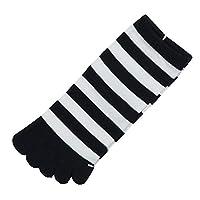 [靴下屋]クツシタヤ 5本指ボーダーソックス 22.0~24.0cm 日本製 五本指靴下 クロ