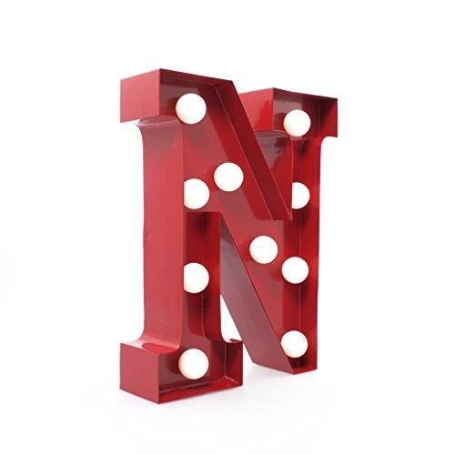 Giggle Beaver Marquee Letter Light N - Letras del Alfabeto con Luces LED - Letras de la Bombilla - Cartel Decorativo Vintage - Metal Rojo de 9 Pulgadas