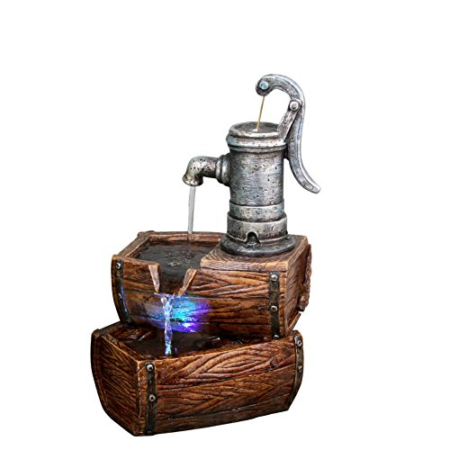 Alpine 2-Tier Water Pump Barrel Fountain w/LED Light, 14 Inch Tall