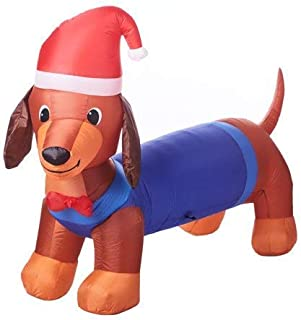 Holiday Time Inflatable Weiner Dog with Santa Hat, 7 Feet