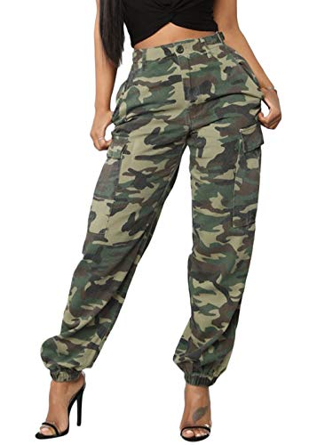 DRESSMECB Women's Casual Camouflage Loose Elastic Button Cargo Pants with Pockets Camouflage Large