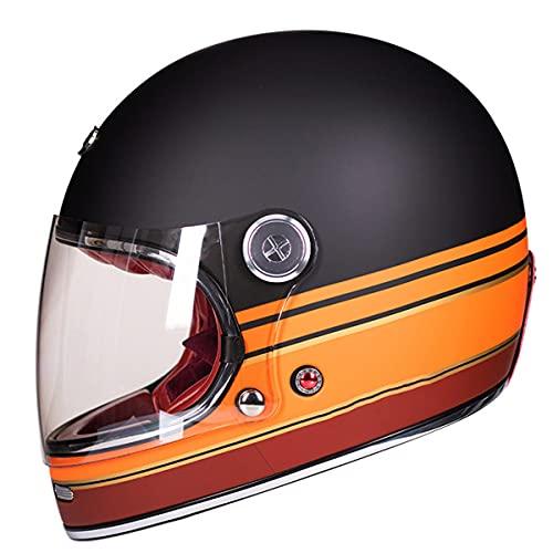 Casco de motocross de fibra de vidrio de cara completa motocicleta profesional retro cascos ECE certificación negro mate naranja XL