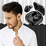 True Wireless Earbuds Bluetooth 5.0 with Charging Case, Touch Control Long Play Time Earphones in Ear TWS Stereo Headphones Built in Mic Headset Premium Sound with Deep Bass for Sport(Black)