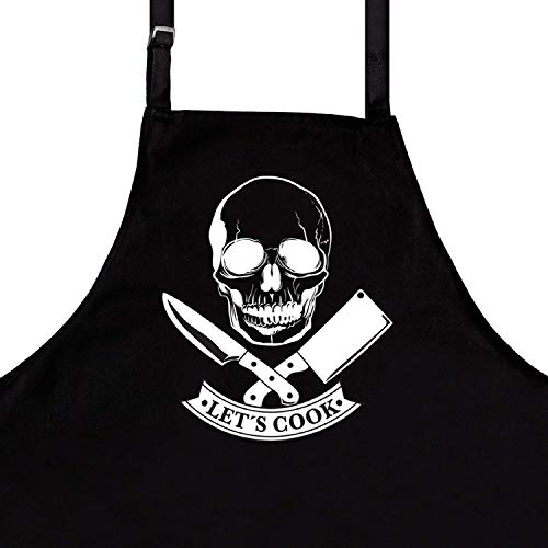 BBQ Funny Aprons for Men, Skull Cook, Dad Gifts, Husband Gifts, Premium Quality Kitchen Apron for Men, Ideal BBQ Accessories for Men