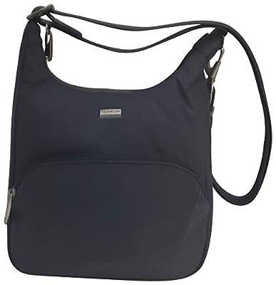 Travelon Anti-Theft Classic Essential Messenger Bag (Dark Grey/Coral Lining)