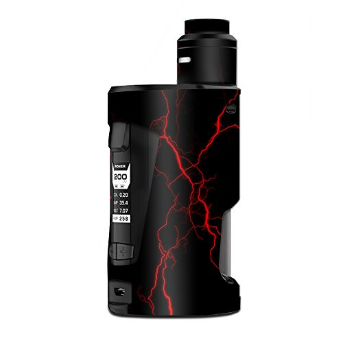 Skin Decal Vinyl Wrap for Geekvape GBox Squonk Kit 200W Vape Kit skins stickers cover / Red Lightning Bolts Electric