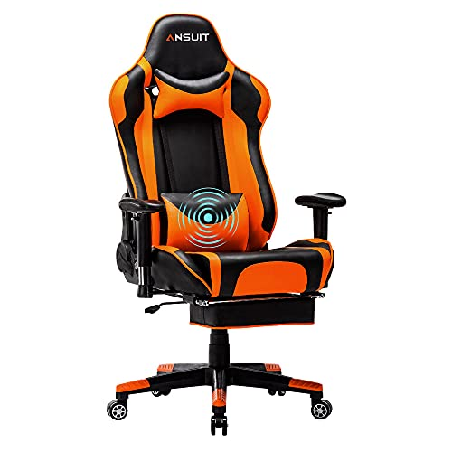 Gaming Chair Gamer Chair Gaming Chairs Computer Chair Massage High Back Ergonomic Adjustable with Headrest and Lumbar Support (Orange)