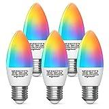 Aigostar Bombilla LED inteligente WiFi vela C37, 7W, E27 rosca gorda, RGB + CCT. Regulable multicolor + luz cálida o blanca 3000 a 6500K. Compatible Alexa y Google Home.Pack 5 uds