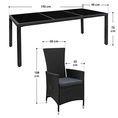 ArtLife Polyrattan Sitzgruppe Rimini Plus 9-teilig schwarz | Gartenmöbel Set mit Tisch, 8 Stühlen & Kissen | graue Bezüge | Rattan Balkonmöbel - 2