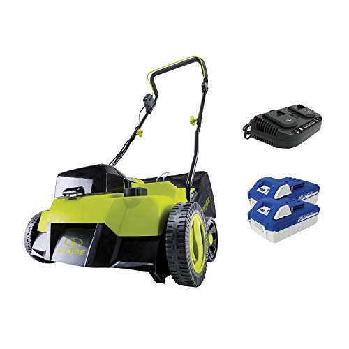 Sun Joe 24V-X2-DTS15 Scarifier and Dethatcher Kit, 5-Depth Positions, 14-inch, Brushless Motor, w/ 2 x 24-V 4.0-Ah Batteries and Dual Port Charger