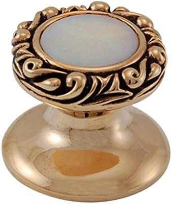 Small Vicenza Designs K1148P Liscio  Round  Stone Insert  Knob with  Small Base Mother of Pearl Antique Copper