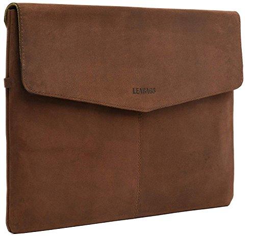 LEABAGS Mississippi 15 Zoll Laptopsleeve aus echtem Büffel-Leder im Vintage Look - Muskat