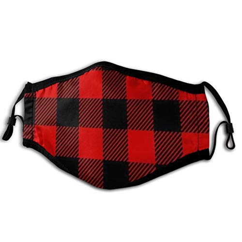 Holzfäller Plaid Scottish Red Black Buffalo Staubdichte winddichte Gesichtsmaske, wiederverwendbares, waschbares Tuch, Gesichtsabdeckung, Abdeckung für Staub Männer Frauen