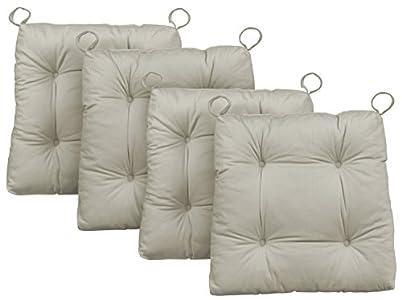 Traumnacht Premium Cojines de silla, 4 unidades, Beige, 38 x 40 x 7 cm