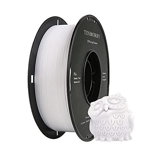 PLA Filamento 1,75 mm, TINMORRY Materiales de Impresión 3D Filamento 1 kg Spool, Blanco