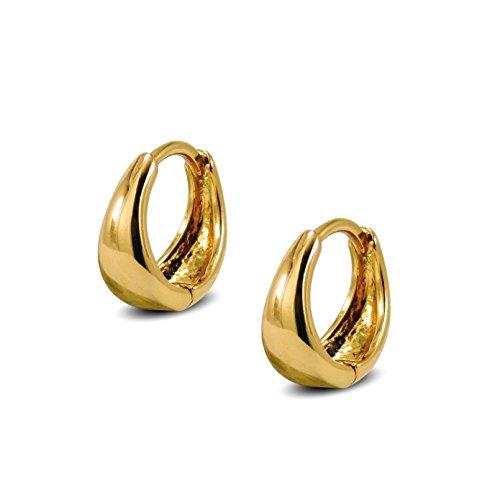 Tapered Hoop Earrings Womens 9ct Gold Filled Very Small Huggie Hoop Earrings