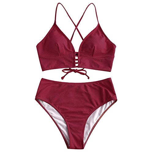 ZAFUL Damen Solide V-Neck Gepolstert Beachwear Swimsuit Rotwein S