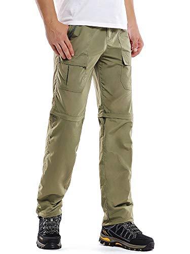 Hiking Pants Men Convertible Quick Dry Durable Cargo Fishing UV Protection Safari Pants,6062,Khaki,40