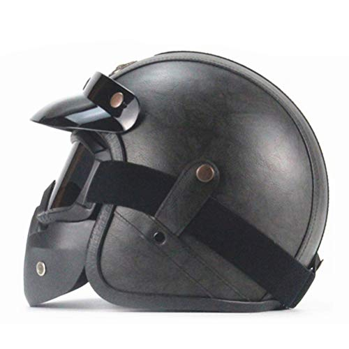 Sconosciuto Caschi in pelle PU Casco moto Chopper Casco moto aperto Casco moto vintage Maschera maschera Casco integrale Moto