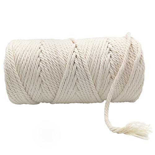 Cuerda de Algodón Natural, 5mm x 100m Cordón Hilo de Algodón Colgante...