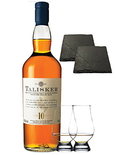 Talisker 10 Jahre Isle of Skye Single Malt Whisky 0,7 Liter + 2 Glencairn Gläser + 2 Schieferuntersetzer quadratisch ca. 9,5 cm