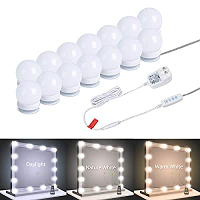 Vanity Mirror Lights, 14 Pcs Dimmable Led Vanity Makeup Light for Mirror Stick on lights, 3 Color Modes, Plug in Makeup Mirror for Dressing Room (Mirror Not Included)
