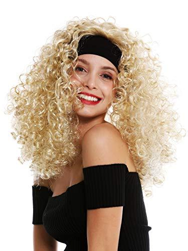 WIG ME UP - LM-153-ZA89/ZA88 Perücke Damen Karneval Stirnband lang gelockt lockig voluminös blond