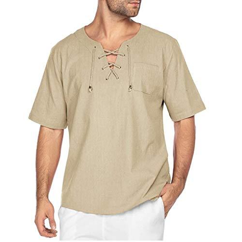 Ohomr Moda Hombres Camiseta de algodón de Lino T Hippie Yoga Camisas con Cuello en V Color Caqui XXX a Gran