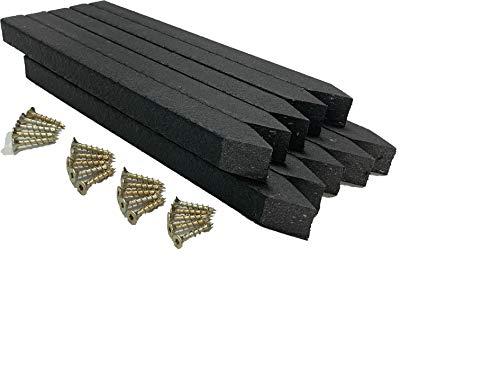 Erdspieße - Teichrandpfähle - 10 St. - für Beeteinfassung und Teichrand - schwarz