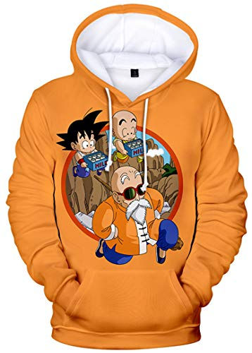 Silver Basic Teen's Unisex Hoodies Dragon Ball Z Goku 3D Print Pullover Sportswear Sweatshirt Tops 2724Orange Master Roshi-3, S…