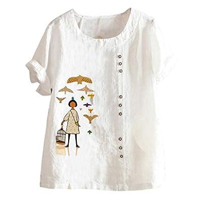 TANGSen Women Round Neck Print Shirt Short Sleeve Buttons Cotton Linen Top Fashion Casual Plus Size Vintage Blouse