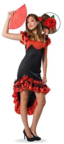 Folat 21934 Robe de Flamenco Espagnole 2 pièces, Noir, S/M