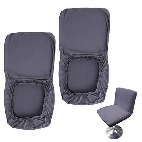 BSTKEY 2 Stück dunkelgraue Barhocker-Schonbezüge mit Rückenlehnenbezug Stretch Stuhlbezug für kurze Drehstuhl Esszimmerstuhl Rückenlehne Barhocker Stuhl