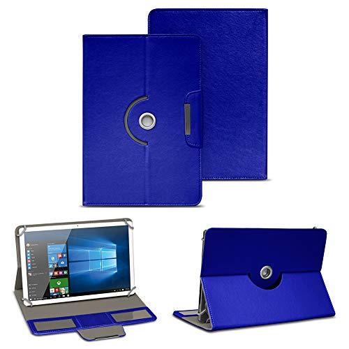NAUC Tablet Tasche Hülle für TrekStor SurfTab Breeze 10.1 Quad Schutztasche Schutzhülle Stand Tasche Etui Cover Universal Hülle Kunst-Leder 360° Drehbar, Farben:Blau