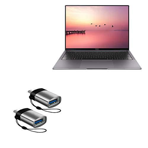 Cabo Huawei MateBook X Pro, BoxWave [USB tipo-C PortChanger (pacote com 2)] Chaveiro USB tipo-C OTG USB para Huawei MateBook X Pro - Cinza ardósia