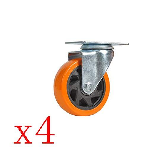 Caster Mittelgroßes Universalrad Hochleistungs-3/4/5-Zoll-Polyurethan-Flachbett-Nachlaufrolle Handwagenrad Richtungsrad Anhänger-Nachlaufausrüstungsrad