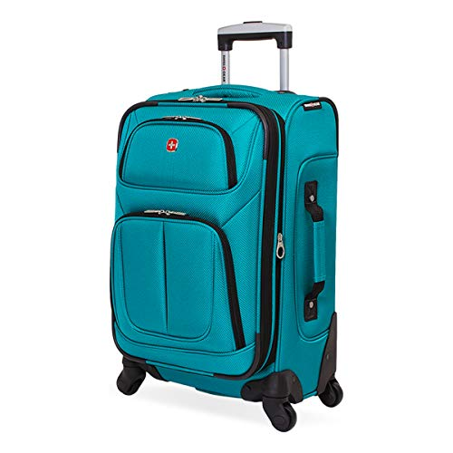 SwissGear Sion Softside Luggage with Spinner Wheels, Teal, Carry-On 21-Inch